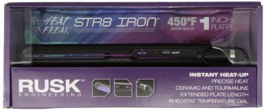 Rusk RSK806 Heat Freak Professional Str8 Ceramic Tourmaline Flat Iron, 1 Inch